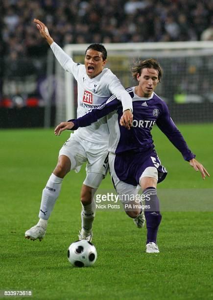 Jermaine Jenas Tottenham Hotspur and Lucas Biglia Anderlecht battle for the ball