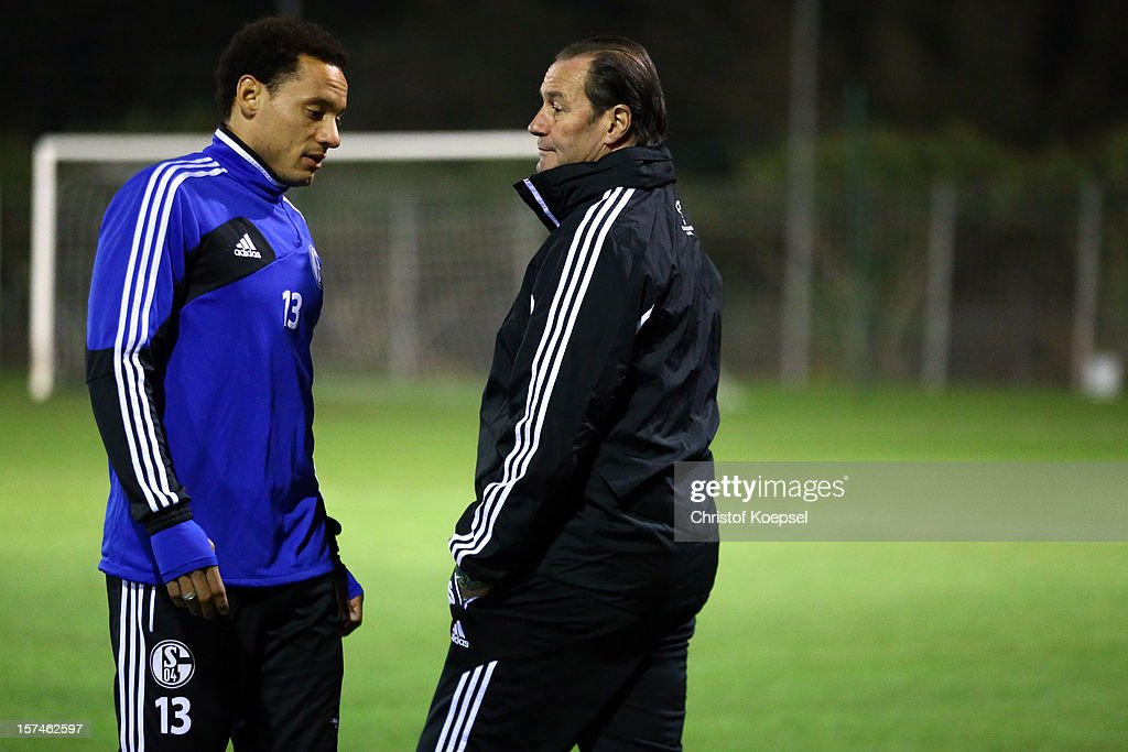 <a gi-track='captionPersonalityLinkClicked' href=/galleries/search?phrase=Jermaine+Jones+-+Soccer+Player&family=editorial&specificpeople=12906336 ng-click='$event.stopPropagation()'>Jermaine Jones</a> and heasd coach <a gi-track='captionPersonalityLinkClicked' href=/galleries/search?phrase=Huub+Stevens&family=editorial&specificpeople=2380209 ng-click='$event.stopPropagation()'>Huub Stevens</a> talk during the training session of FC Schalke 04 at training ground of Montpellier ahead of the UEFA Champions League group B match between Montpellier Herault SC and FC Schalke 04 on December 3, 2012 in Montpellier, France.