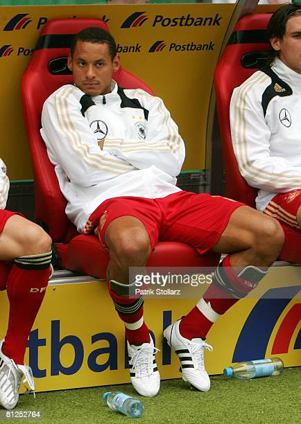 Jermaine Jones of Germany sits on the bench during the international friendly match between Germany and Belarus at the FritzWalter stadium on May 27...