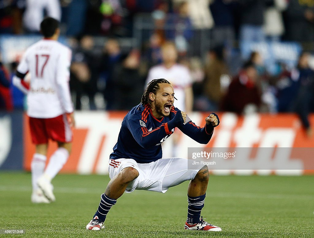 Jermaine Jones of New England Revolution celebrates after winning the MLS Eastern Conference Championship against the New York Red Bulls at Gillette...