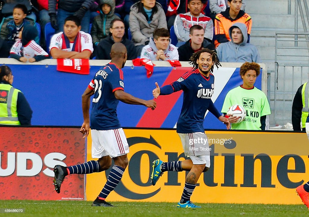 Jermaine Jones of New England Revolution celebrates his second half goal against the New York Red Bulls during the Eastern Conference Final Leg 1 at...