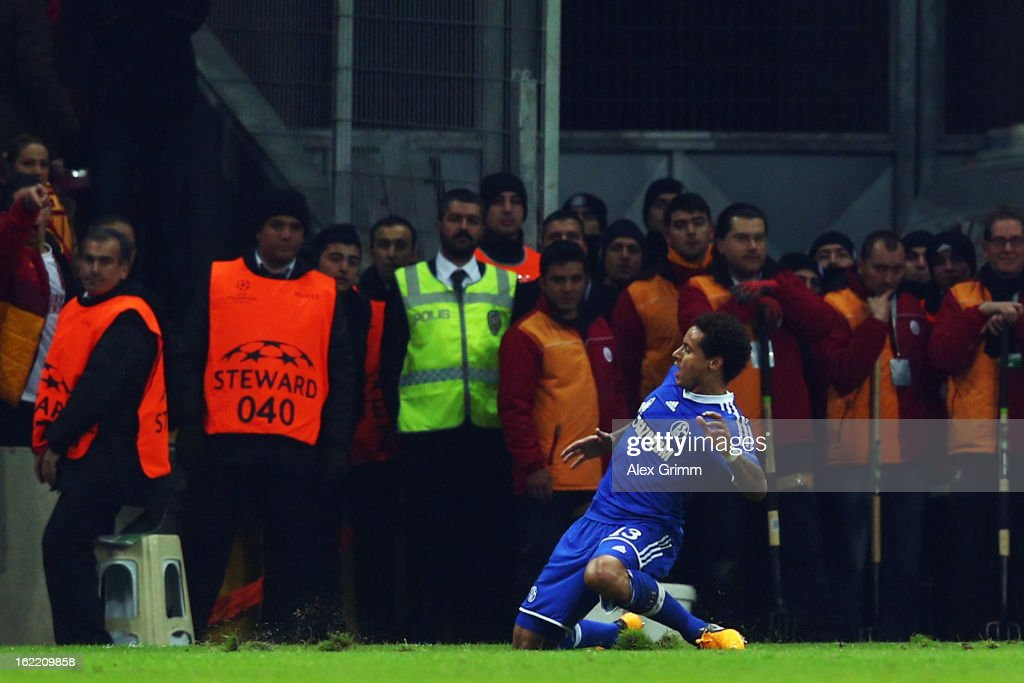 Jermaine Jones of Schalke celebrates his team's first goal during the UEFA Champions League Round of 16 first leg match between Galatasaray and FC Schalke 04 at the Turk Telekom Arena on February 20, 2013 in Istanbul, Turkey.