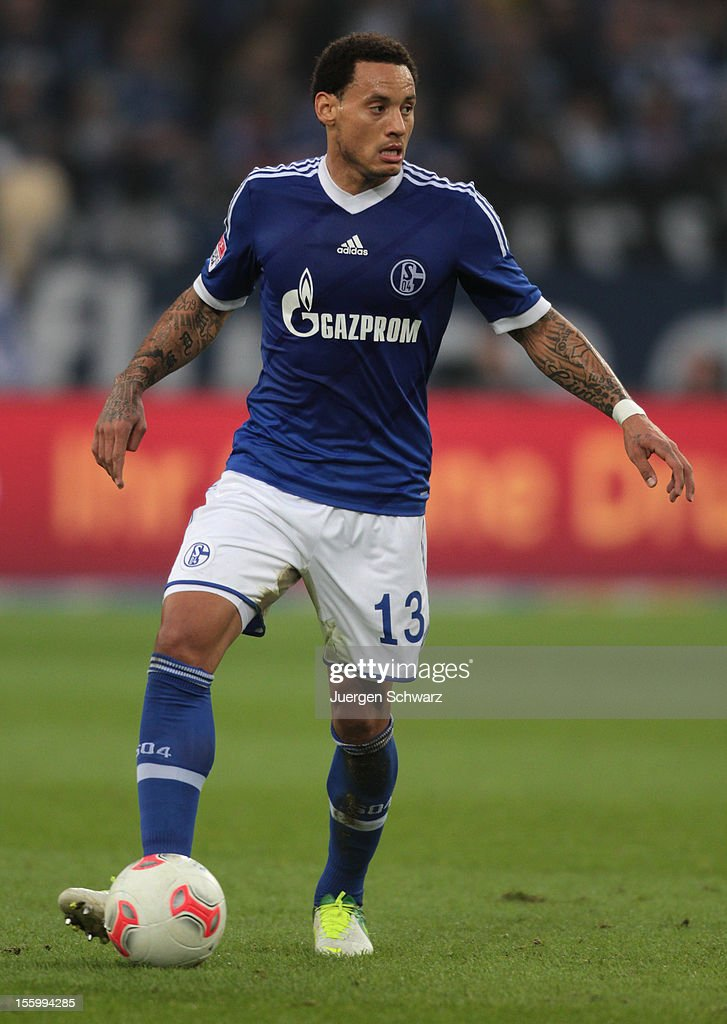 Jermaine Jones of Schalke controls the ball during the Bundesliga match between FC Schalke 04 and Werder Bremen at Veltins-Arena on November 10, 2012 in Gelsenkirchen, Germany.