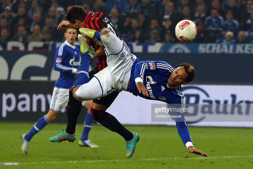 <a gi-track='captionPersonalityLinkClicked' href=/galleries/search?phrase=Jermaine+Jones+-+Soccer+Player&family=editorial&specificpeople=12906336 ng-click='$event.stopPropagation()'>Jermaine Jones</a> of Schalke does an overhead kick during the Bundesliga match between FC Schalke 04 and Eintracht Frankfurt at Veltins-Arena on November 24, 2012 in Gelsenkirchen, Germany.