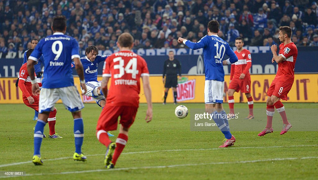 <a gi-track='captionPersonalityLinkClicked' href=/galleries/search?phrase=Jermaine+Jones+-+Soccer+Player&family=editorial&specificpeople=12906336 ng-click='$event.stopPropagation()'>Jermaine Jones</a> of Schalke scores his teams third goal during the Bundesliga match between FC Schalke 04 and VfB Stuttgart at Veltins-Arena on November 30, 2013 in Gelsenkirchen, Germany.