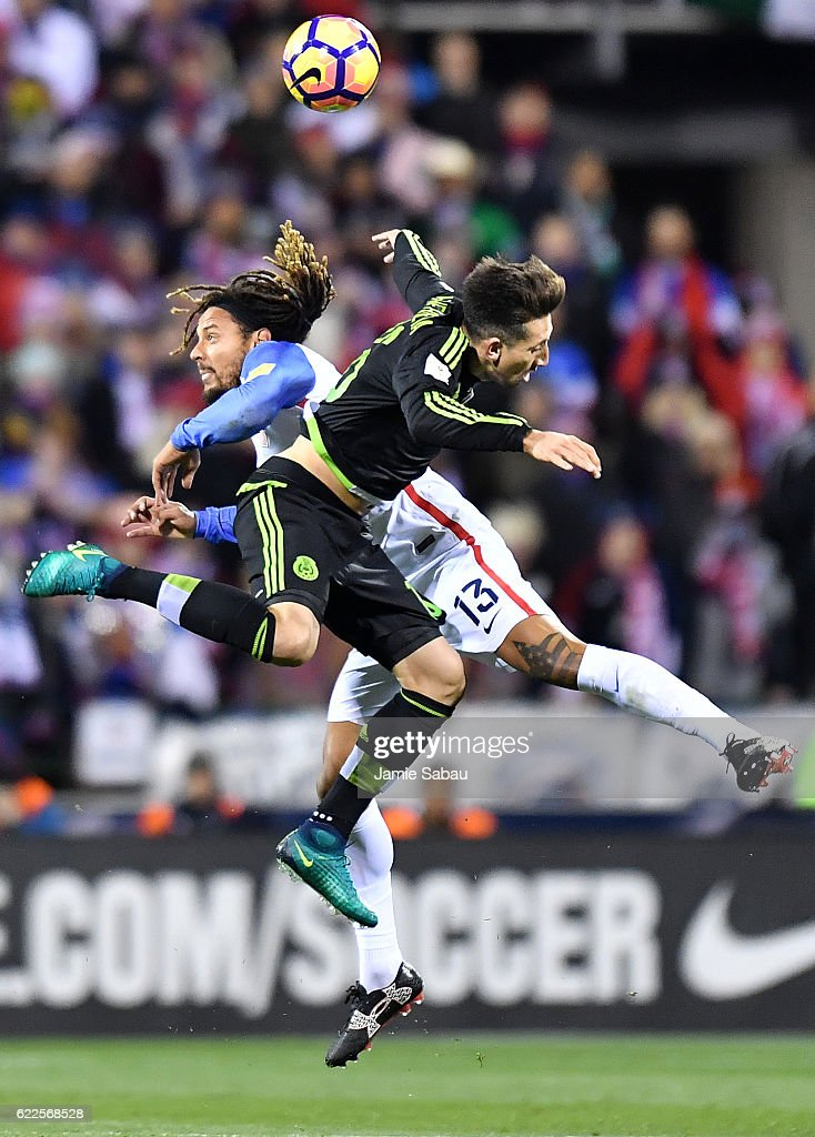Jermaine Jones #13 of the United States and Hector Herrera #16 of Mexico head the ball in the first half during the FIFA 2018 World Cup Qualifier at MAPFRE Stadium on November 11, 2016 in Columbus, Ohio.