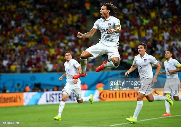 Jermaine Jones of the United States celebrates scoring his team's first goal during the 2014 FIFA World Cup Brazil Group G match between USA and...