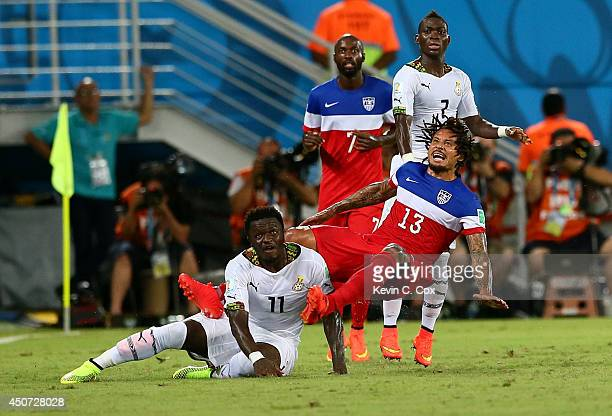 Jermaine Jones of the United States challenges Daniel Opare of Ghana during the 2014 FIFA World Cup Brazil Group G match between Ghana and the United...