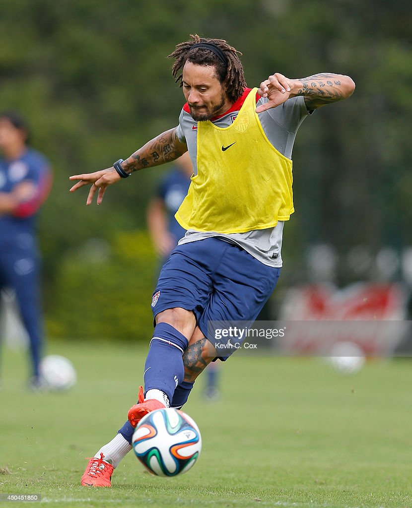 <a gi-track='captionPersonalityLinkClicked' href=/galleries/search?phrase=Jermaine+Jones+-+Soccer+Player&family=editorial&specificpeople=12906336 ng-click='$event.stopPropagation()'>Jermaine Jones</a> of the United States runs drills during their training session at Sao Paulo FC on June 11, 2014 in Sao Paulo, Brazil.