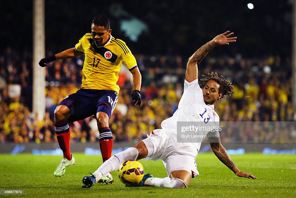 Jermaine Jones of the USA avoids Carlos Bacca of Colombia during the International Friendly between the USA and Colombia at Craven Cottage on...