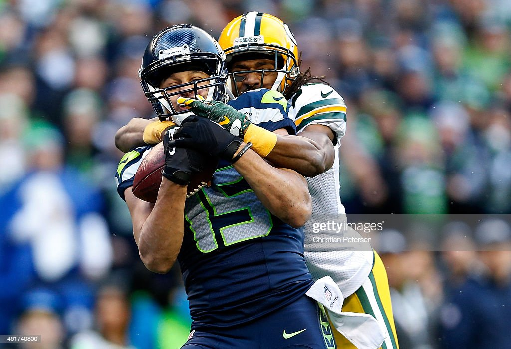 <a gi-track='captionPersonalityLinkClicked' href=/galleries/search?phrase=Jermaine+Kearse&family=editorial&specificpeople=5516767 ng-click='$event.stopPropagation()'>Jermaine Kearse</a> #15 of the Seattle Seahawks catches a 35 yard game-winning touchdown in overtime against the Green Bay Packers during the 2015 NFC Championship game at CenturyLink Field on January 18, 2015 in Seattle, Washington.