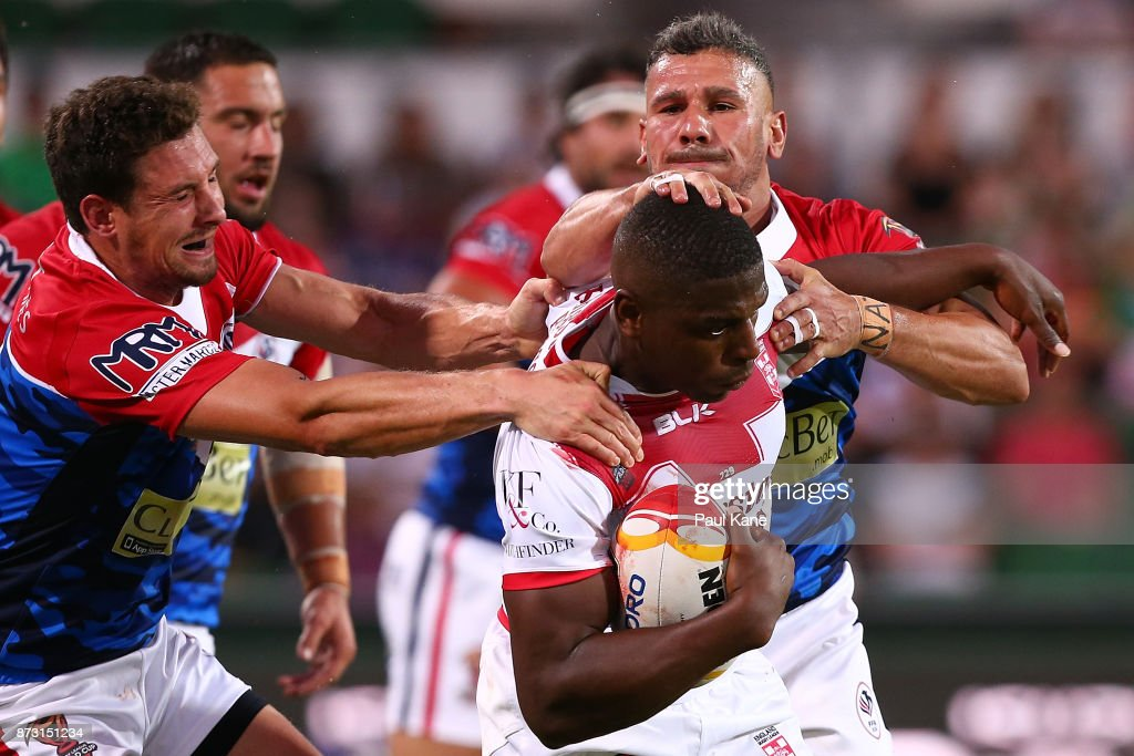 Jermaine McGillvary of England runs the ball during the 2017 Rugby League World Cup match between England and France at nib Stadium on November 12, 2017 in Perth, Australia.