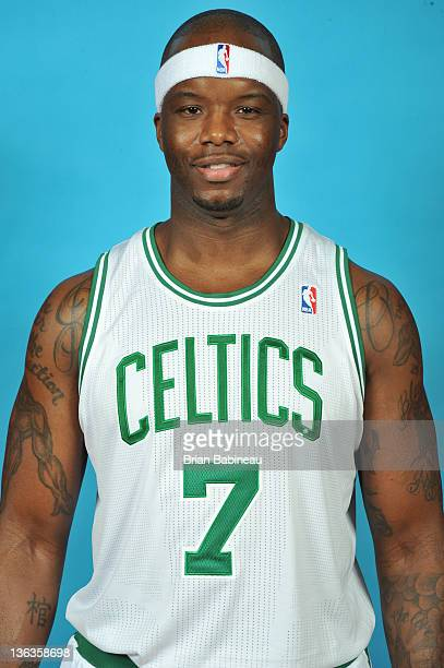 Jermaine O'Neal of the Boston Celtics poses for portraits for media day on December 13 2011 at the Boston Sports Club facility in Waltham...