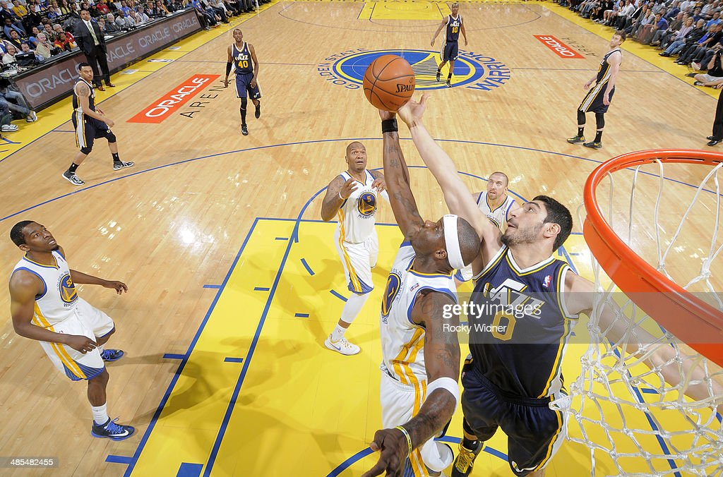 <a gi-track='captionPersonalityLinkClicked' href=/galleries/search?phrase=Jermaine+O%27Neal&family=editorial&specificpeople=201524 ng-click='$event.stopPropagation()'>Jermaine O'Neal</a> #7 of the Golden State Warriors goes for the rebound against the Utah Jazz on April 6, 2014 at Oracle Arena in Oakland, California.