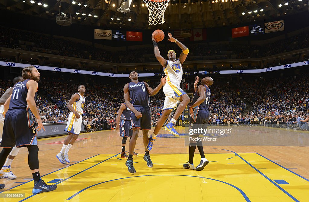 <a gi-track='captionPersonalityLinkClicked' href=/galleries/search?phrase=Jermaine+O%27Neal&family=editorial&specificpeople=201524 ng-click='$event.stopPropagation()'>Jermaine O'Neal</a> #7 of the Golden State Warriors shoots a layup against the Charlotte Bobcats on February 4, 2014 at Oracle Arena in Oakland, California.