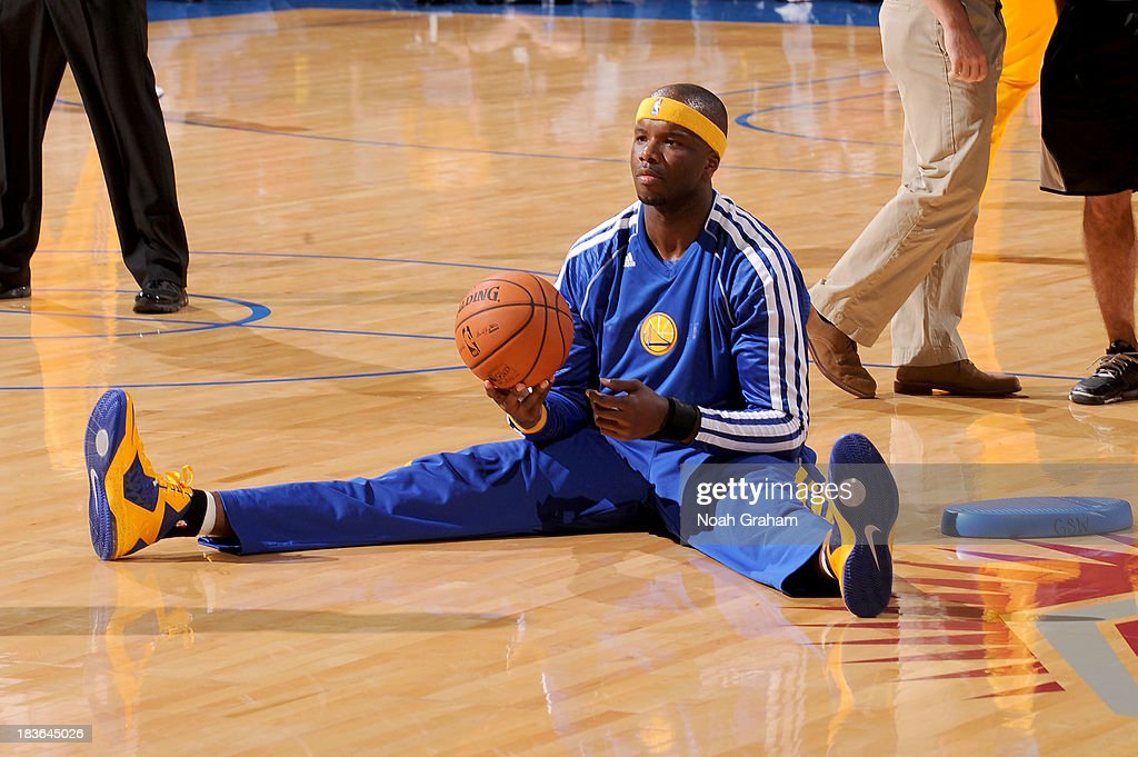 <a gi-track='captionPersonalityLinkClicked' href=/galleries/search?phrase=Jermaine+O%27Neal&family=editorial&specificpeople=201524 ng-click='$event.stopPropagation()'>Jermaine O'Neal</a> #9 of the Golden State Warriors warms up prior to the game against the Los Angeles Lakers at Citizens Business Bank Arena on October 5, 2013 in Ontario, California.