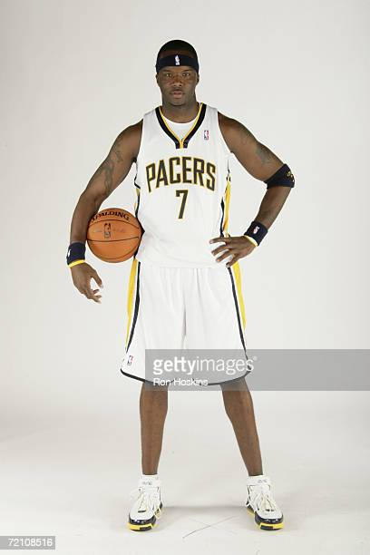 Jermaine O'Neal of the Indiana Pacers poses for a portrait during a 2006 Media Day on October 2 2006 at Conseco Fieldhouse in Indianapolis Indiana...