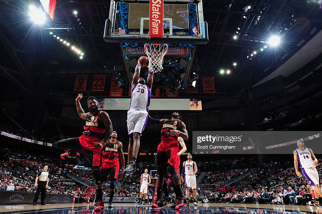 <a gi-track='captionPersonalityLinkClicked' href=/galleries/search?phrase=Jermaine+O%27Neal&family=editorial&specificpeople=201524 ng-click='$event.stopPropagation()'>Jermaine O'Neal</a> #20 of the Phoenix Suns goes up for the dunk against the Atlanta Hawks on March 15, 2013 at Philips Arena in Atlanta, Georgia.