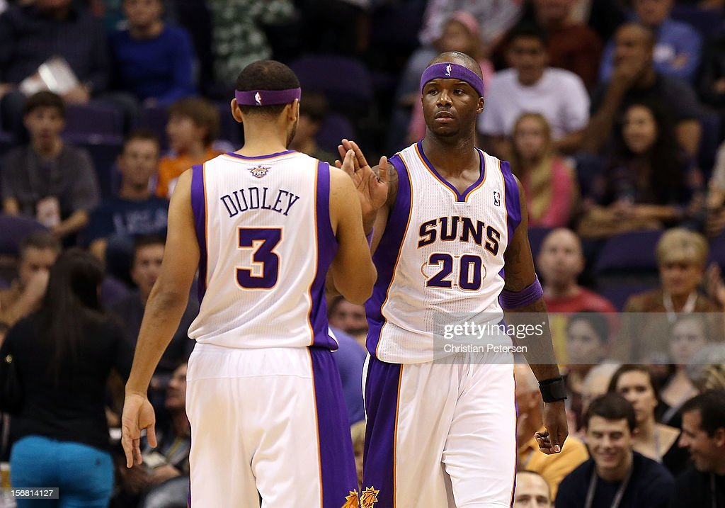 Jermaine O'Neal #20 of the Phoenix Suns high-fives Jared Dudley #3 after scoring against the Portland Trail Blazers during the NBA game at US Airways Center on November 21, 2012 in Phoenix, Arizona. The Suns defeated the Trail Blazers 114-87.