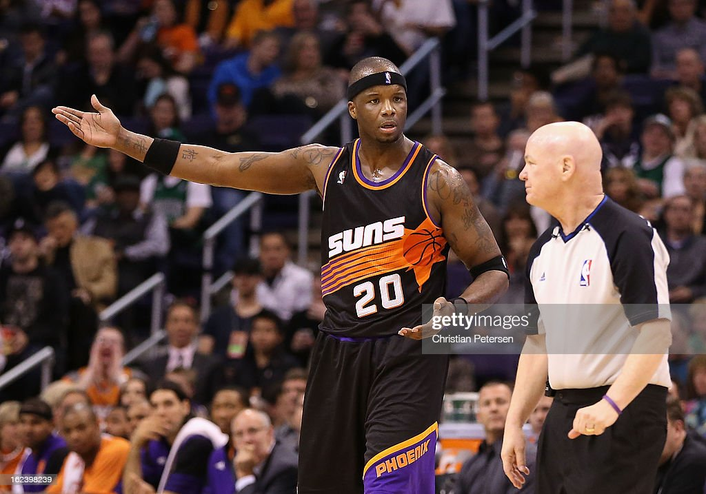 Jermaine O'Neal #20 of the Phoenix Suns reacts to official Joe Crawford after a technical foul during the second half of the NBA game against the Boston Celtics at US Airways Center on February 22, 2013 in Phoenix, Arizona. The Celtics defeated the Suns 113-88.