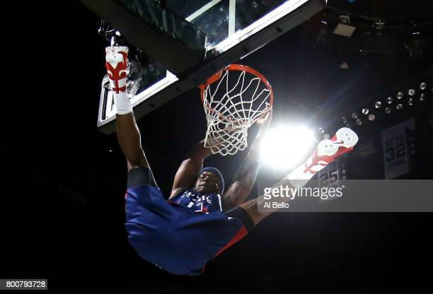 Jermaine O'Neal of TriState dunks against Power during week one of the BIG3 three on three basketball league at Barclays Center on June 25 2017 in...