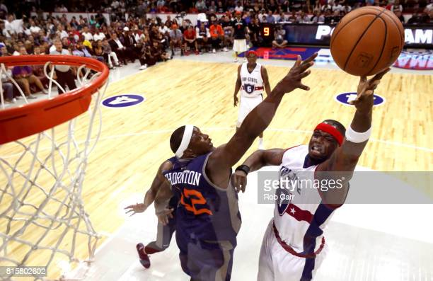 Jermaine O'Neal of TriState shoots against Al Thornton of 3's Company during week four of the BIG3 three on three basketball league at Wells Fargo...