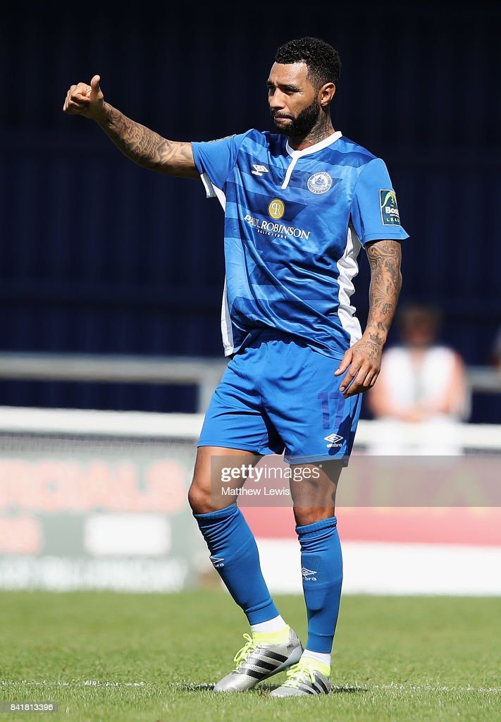 Jermaine Pennant of Billericay Town in action during The Emirates FA Cup Qualifying First Round match between Billericay Town and Didcot Town on September 2, 2017 in Billericay, England.