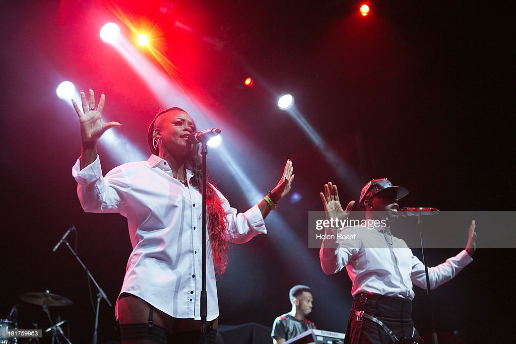 Jermaine Riley and Cherri V of Dora Martin perform on stage at Musicalize at Indigo2 at O2 Arena on September 24, 2013 in London, England.