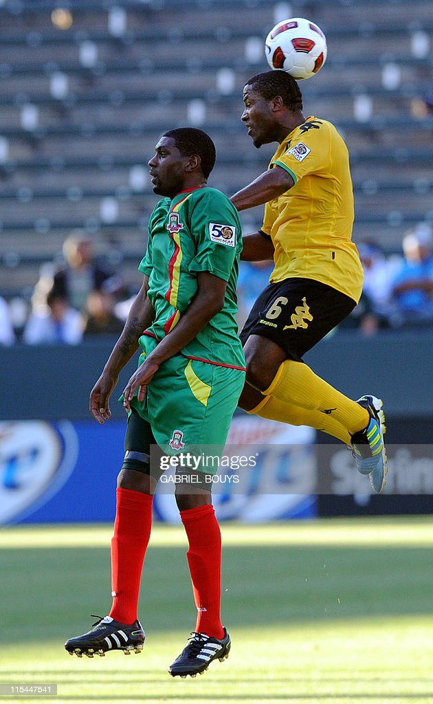 Jermaine Taylor from Jamaica (R) fights with Leon Johnson from Grenada during the 2011 CONCACAF Gold Cup first round match between Jamaica and Grenada, on June 6, 2011 in Carson, California.
