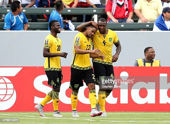 Jermaine Taylor of Jamaica celebrates with Westley Morgan and Kemar Lawrence after his first half goal against Costa Rica in their CONCACAF Gold Cup...