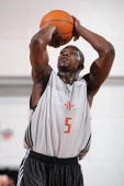 Jermaine Taylor of the Houston Rockets shoots a free throw during NBA Summer League presented by EA Sports against the Portland Trail Blazers on July...