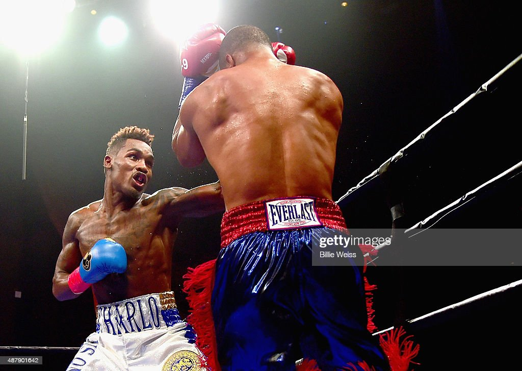 Jermall Charlo punches Cornelius Bundrage during a fight at Foxwoods Resort Casino on September 12, 2015 in Mashantucket, Connecticut.