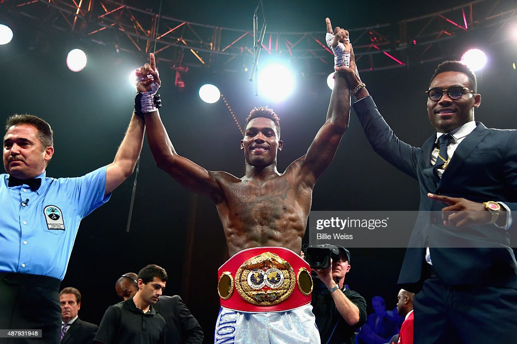 Jermall Charlo reacts after defeating Cornelius Bundrage during a fight at Foxwoods Resort Casino on September 12, 2015 in Mashantucket, Connecticut.