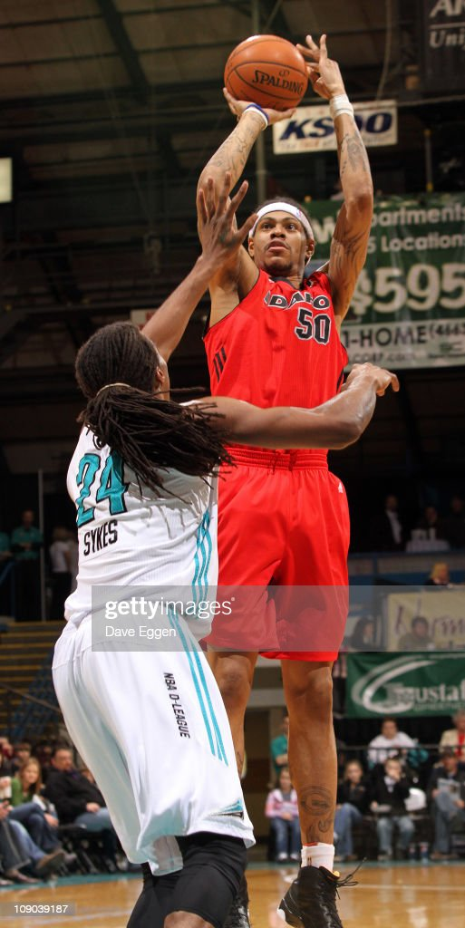<a gi-track='captionPersonalityLinkClicked' href=/galleries/search?phrase=Jermareo+Davidson&family=editorial&specificpeople=801276 ng-click='$event.stopPropagation()'>Jermareo Davidson</a> #50 of the Idaho Stampede shoots over Raymond Sykes #24 of the Sioux Falls Skyforce in the first half of their game February 12, 2011 at the Sioux Falls Arena in Sioux Falls, South Dakota.