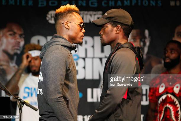 Jermell Charlo and Erickson Lubin face off during the press conference for the Showtime Championship Boxing card at Barclays Center on October 12 2017