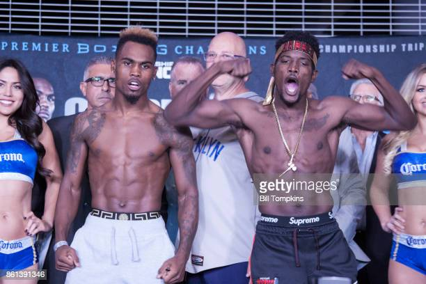 Jermell Charlo and Erickson Lubin pose during the Erislandy Lara vs Terrel Gausha Official Weigh In at the Barclays Center on October 13 2017 in the...