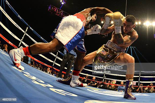 Jermell Charlo fights Gabriel Rosado in their WBC Continental Americas Title match at the DC Armory on January 25 2014 in Washington DC