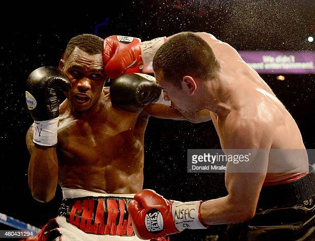 Jermell Charlo fights Mario Lozano during their junior welterweight bout at the MGM Grand Garden Arena on December 13 2014 in Las Vegas Nevada Charlo...