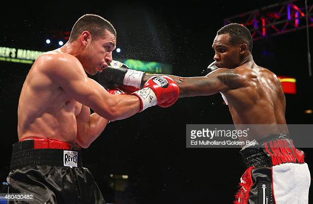 Jermell Charlo lands a left hand to the head of Mario Lozano during their junior welterweight fight at the MGM Grand Garden Arena on December 13 2014...