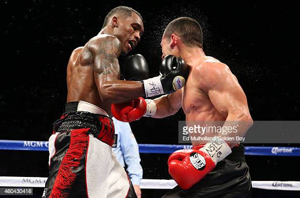 Jermell Charlo lands a right hand to the head of Mario Lozano during their junior welterweight fight at the MGM Grand Garden Arena on December 13...