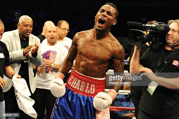 Jermell Charlo reacts after defeating Gabriel Rosado in their WBC Continental Americas Title match at the DC Armory on January 25 2014 in Washington...