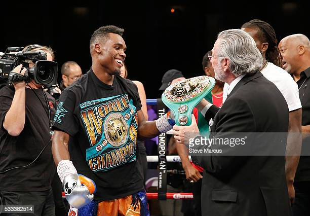 Jermell Charlo receives the WBC super welterweight belt after beating John Jackson at The Chelsea at The Cosmopolitan of Las Vegas on May 21 2016 in...