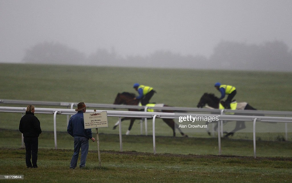 Jermey Noseda (2L) watches his racehorses on Warren Hill gallops on September 24, 2013 in Newmarket, England.