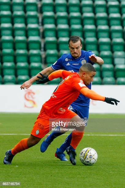 Jernade Mead and Eric Larsson of GIF Sundsvall in action during the Allsvenskan match between GIF sundsvall and Athetic FC Eskilstuna at Norrporten...
