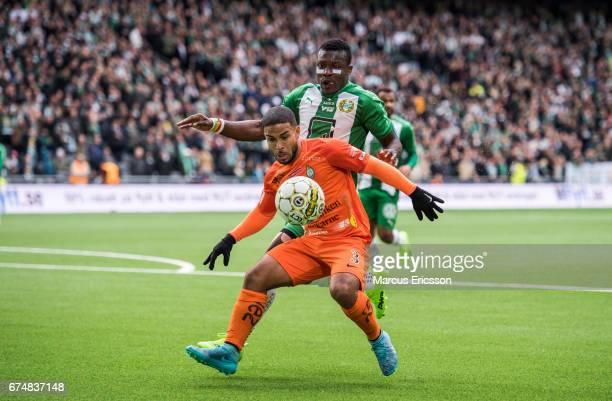 Jernade Mead of Athletic FC Eskilstuna and Joseph Aidoo of Hammarby IF during the Allsvenskan match between Hammarby IF and Athletic FC Eskilstuna at...