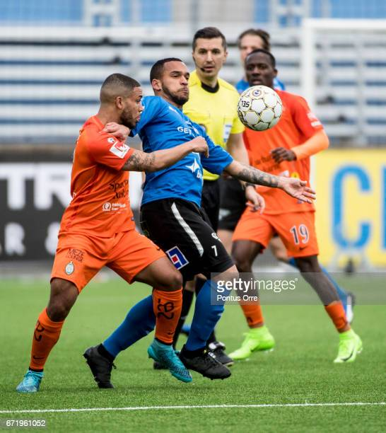 Jernade Mead of Athletic FC Eskilstuna and Nikolai Alho of Halmstad BK competes for the ball during the Allsvenskan match between Athletic FC...