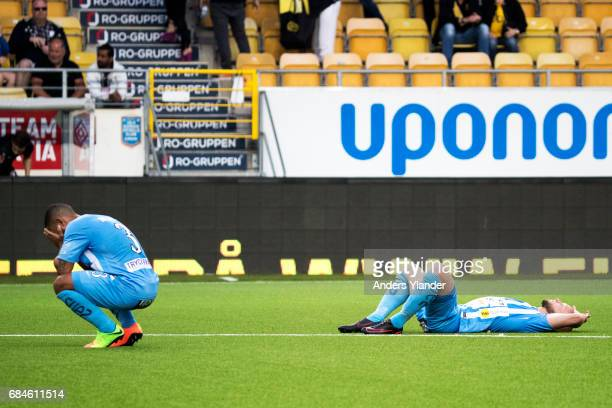 Jernade Mead of Athletic FC Eskilstuna and Zourab Tsiskaridze of Athletic FC Eskilstuna looks dejected after their team's defeat during the...