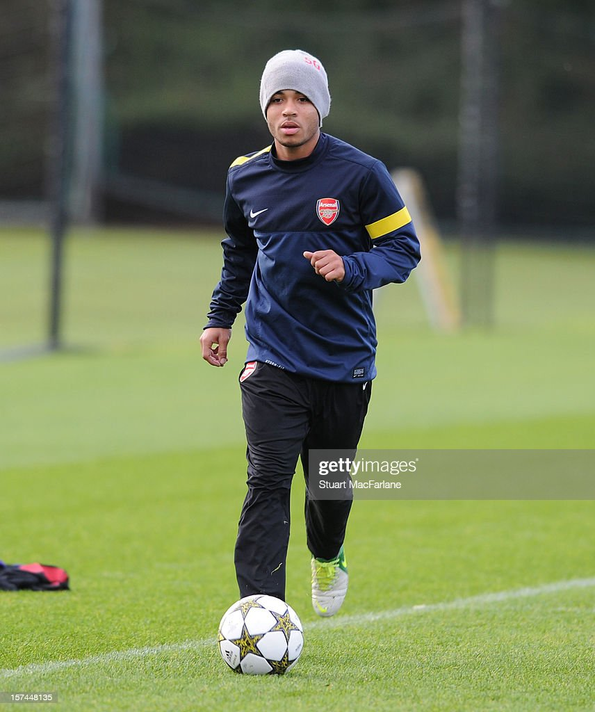 Jernade Meade of Arsenal during a training session at London Colney on December 03, 2012 in St Albans, England.