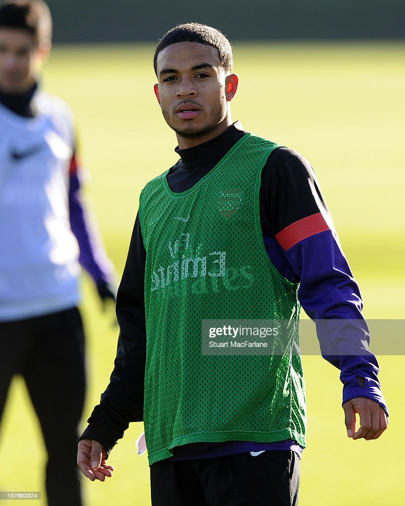 Jernade Meade of Arsenal looks on during a training session at London Colney on December 07, 2012 in St Albans, England.