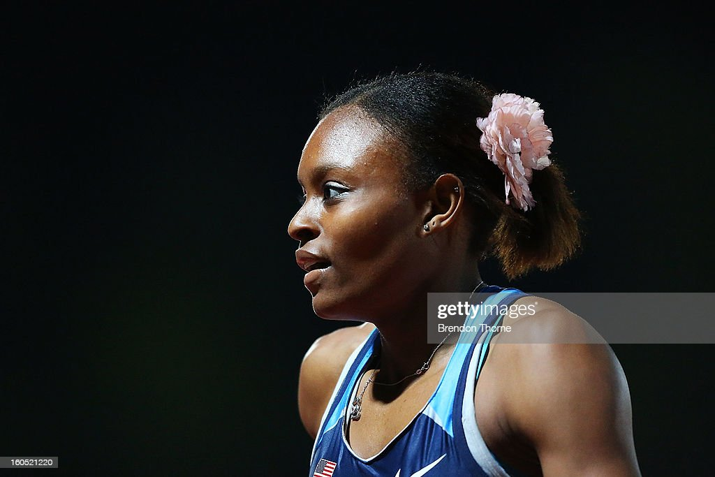 Jernail Hayes of the USA competes in the Women's 400 metre during the Hunter Track Classic on February 2, 2013 in Newcastle, Australia.